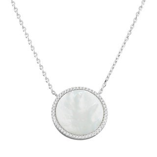 mother of pearl pendant. La Preciosa Sterling Silver Mother Of Pearl And Cubic Zirconia Circle Disc Necklace Pendant E
