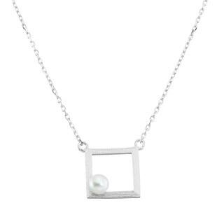 La Preciosa Sterling Silver Freshwater Pearl Matte Necklace