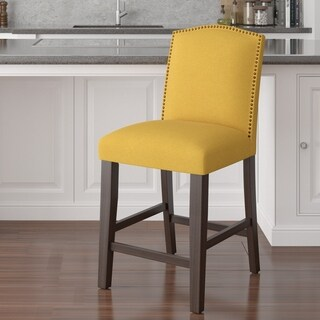 Skyline Furniture Nail Button Arched Counter Stool in Linen French Yellow