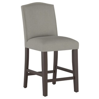 Skyline Furniture Nail Button Arched Counter Stool in Grey Linen