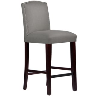 Skyline Furniture Nail Button Arched Barstool in Grey Linen
