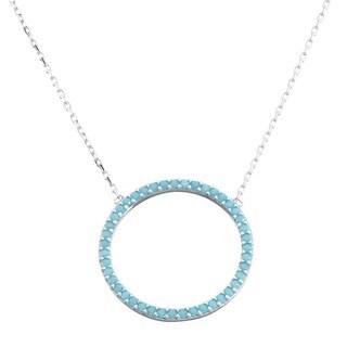 La Preciosa Sterling Silver Turquoise Cubic Zirconia Open Circle Necklace