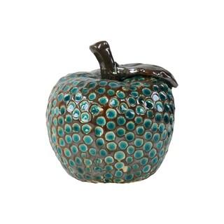 Ceramic Apple with Blue Studs Pimpled Gloss Dark Espresso Brown