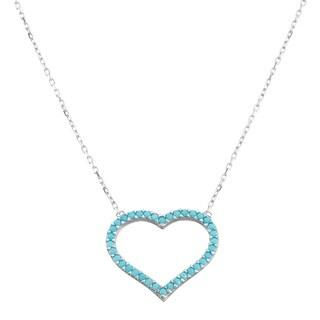 La Preciosa Sterling Silver Turquoise Cubic Zirconia Open Heart Necklace