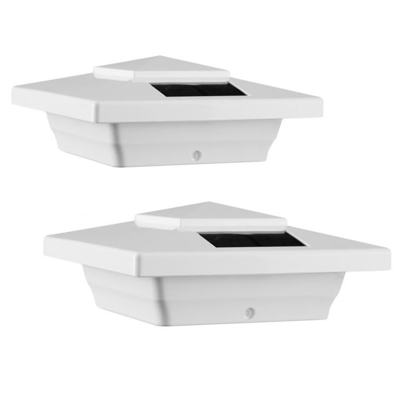 Classy Caps 4-inch White PVC Windsor Solar Post Cap (2-pa...