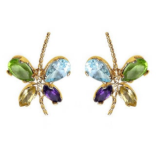 Malaika 1.42 Carat Genuine Multi Stone 10K Yellow Gold Earrings