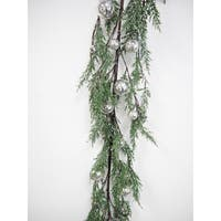 6-foot Faux Cypress Garland With Silver Ornaments