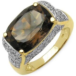 Malaika 14K Yellow Gold Plated 6.39 Carat Genuine Smoky Quartz & White Topaz .925 Sterling Silver Ring