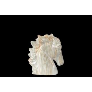 Ceramic Horse Head SM Marbleized with Grey Streaks Gloss Cream