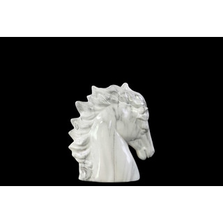 Ceramic Horse Head SM Marbleized with Brown Streaks Gloss White
