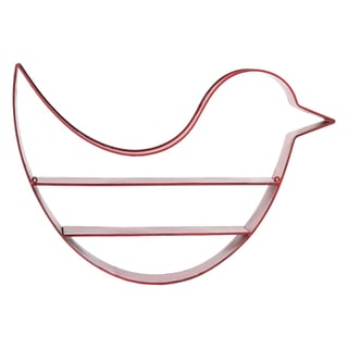 Metal Bird Wall Shelf Red