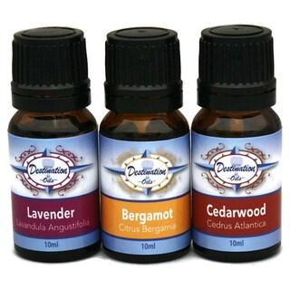 Destination Oils Relax 10 ml Therapeutic Grade Bergamot/ Cedarwood/ Lavender Essential Oil Calming Gift Set