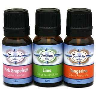 Citrus Essential Oil Aromatherapy Gift Set with Lime, Tangerine, and Grapefruit