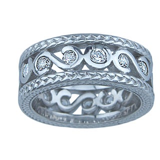 Adele Sterling Silver Round Cubic Zirconia Stylish Band Ring