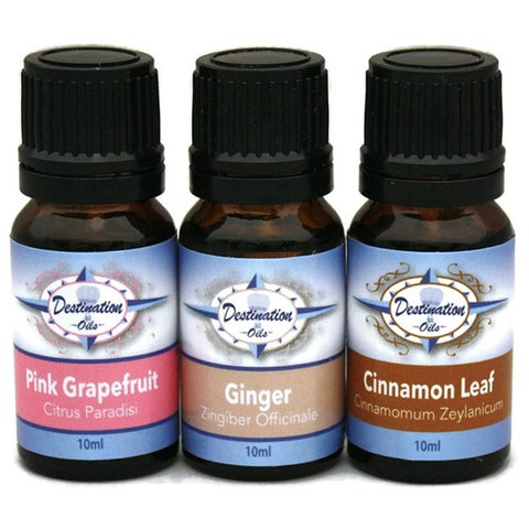 Weight Loss Essential Oil Gift Set with 100-percent Pure Grapefruit, Cinnamon, and Ginger by Destination Oils