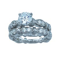 Florence Sterling Silver 1 1/3ct TGW Round-cut Cubic Zirconia Wedding Ring Set