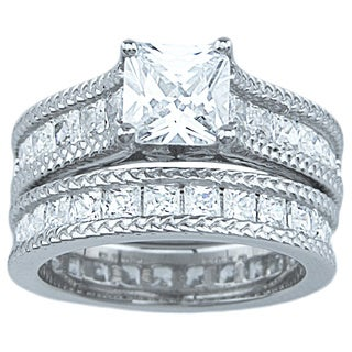 Esperanza Sterling Silver Cubic Zirconia 4 1/3ct TGW Princess-cut Wedding Ring Set