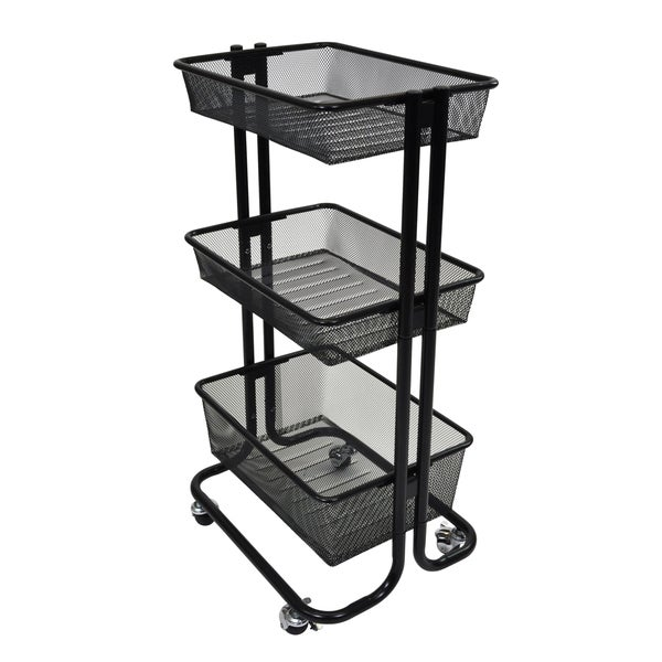 offex black kitchen utility cart