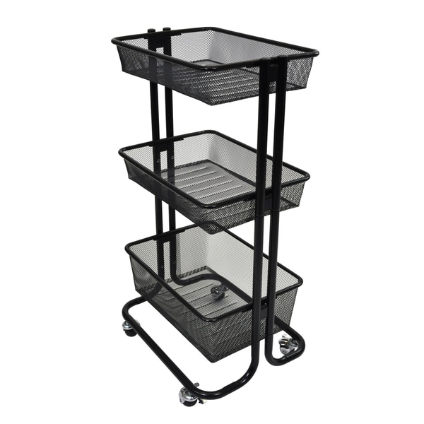 Offex black kitchen utility cart free shipping today for Kitchen utility cart
