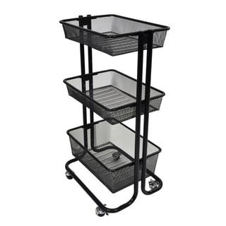 Offex Black Kitchen Utility Cart (Option: Blue)
