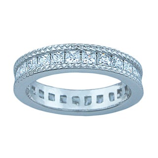 Katerina Sterling Silver 1 1/4ct TGW Princess-cut Cubic Zirconia Eternity Bridal Band