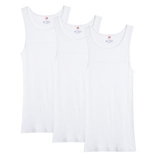 Hanes Men's X-Temp Big and Tall White Tank Undershirts (Pack of 3)