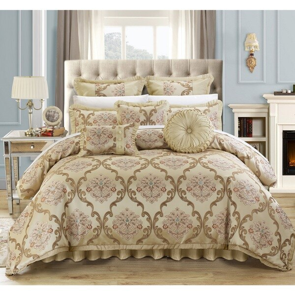 Chic Home Antonio Beige Jacquard 9-Piece Comforter Set