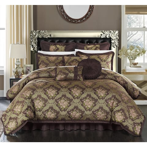 Chic Home Zanotti Brown Floral Jacquard 9-Piece Comforter Set
