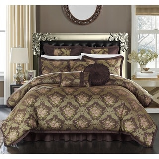 Chic Home Zanotti Brown Floral Jacquard 9-Piece Comforter Set