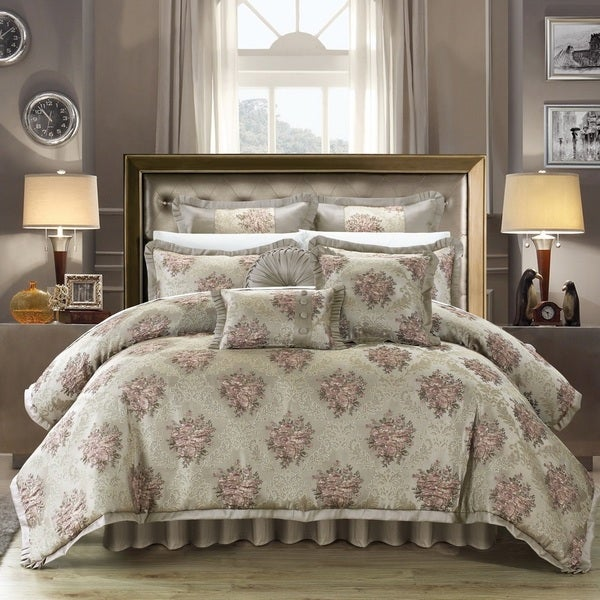 Chic Home Zanotti Taupe Floral Jacquard 9-Piece Comforter Set