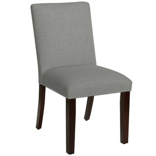 Skyline Furniture Nail Button Dining Chair in Grey Linen