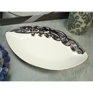 D'Lusso Designs Silver White Tear Drop Platter
