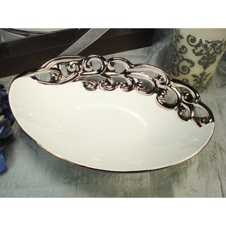 D'Lusso Designs Silver White Deep Oval Bowl