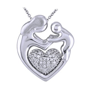 Bridal Symphony Sterling Silver Mother and Baby 1/10CTtw Diamond Accent Pendant (I-J, I2-I3)
