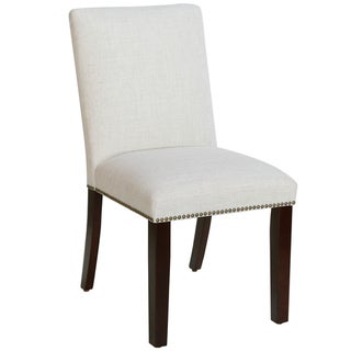 Skyline Furniture Nail Button Dining Chair in Linen Talc