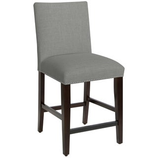 Skyline Furniture Nail Button Counter Stool in Linen Grey