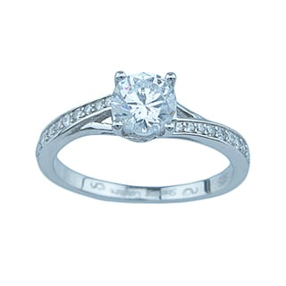 Estelle Sterling Silver 1ct TGW Round Cubic Zirconia Engagement Ring