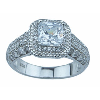 Victoria Sterling Silver 2ct TGW Cubic Zirconia Princess-cut Double Prong Engagement Ring