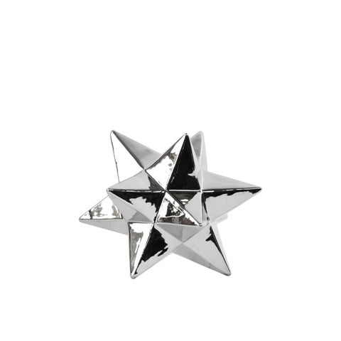 Ceramic 12 Point Great Icosahedron Sculpture SM Polished Chrome Silver
