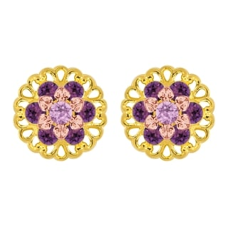 Lucia Costin Sterling Silver Lilac/ Violet Crystal Earrings