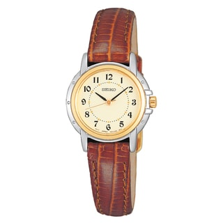Seiko Women's 'Core' Collection Brown Leather Strap Casual Watch