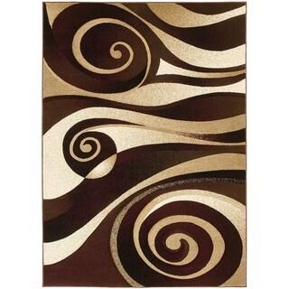 LYKE Home Hand-carved Burgundy Swirls Area Rug (8' x 11')