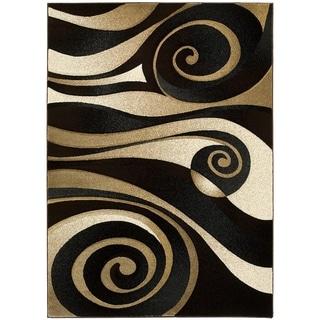 LYKE Home Hand-carved Black Swirls Area Rug (8' x 11')