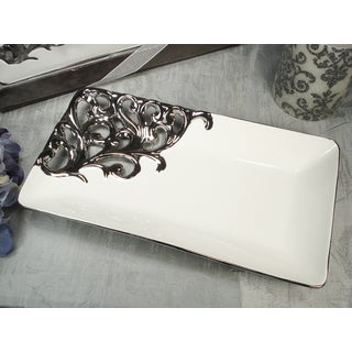 D'Lusso Designs Silver White Rectangular Platter