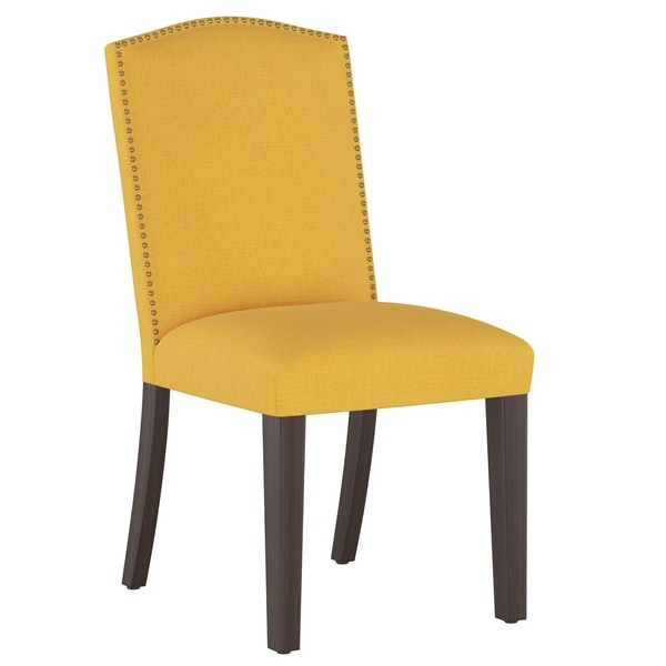 Skyline Furniture Nail Button Parsons Dining Chair in Linen Yellow