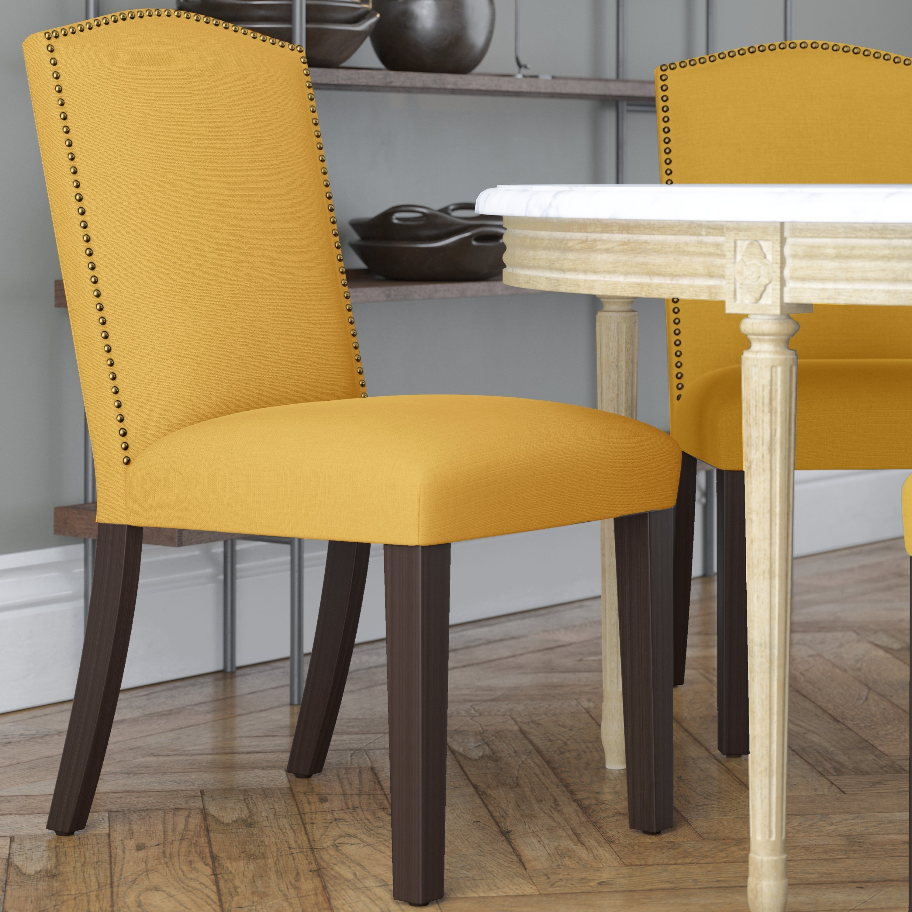 Sensational Skyline Furniture Nail Button Parsons Dining Chair In Linen Yellow Ncnpc Chair Design For Home Ncnpcorg