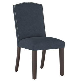 Skyline Furniture Navy Linen Nail Button Arched Dining Chair