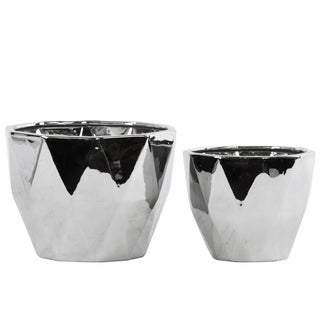 Urban Trends Collection Set Of Two Ceramic Tapered Decagonal Polished Chrome Silver Pot