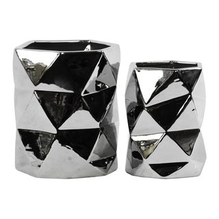 Urban Trends Collection Ceramic Hexagonal Polished Chrome Silver Vase
