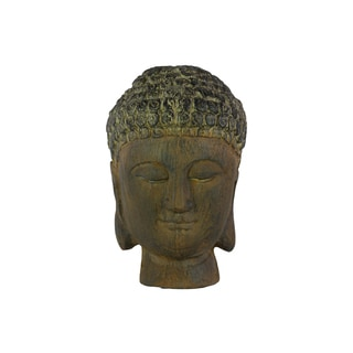 Urban Trends Buddha Head without Ushnisha Dark Brown Resin Figurine